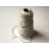 Kid-Mohair Wol Polyamide 1810 wit/zwart 100 gram